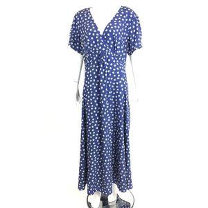 eShaki blue floral maxi dress retro